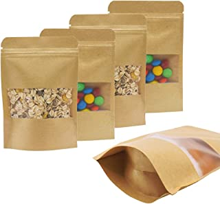 100pcs Kraft ZipLock Bags 3.9 x 5.8 Inch Resealable, Paper Stand Up Sample Pouches with Window for Food Coffee Bath Soak S...