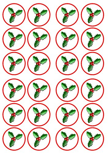 Christmas Holly Edible PREMIUM THICKNESS SWEETENED VANILLA, Wafer Rice Paper Cupcake Toppers/Decorations