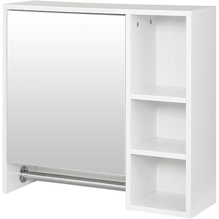 EUGAD 0132WY Armoire de Toilette avec Miroir Armoire Murale Salle de Bain Montage Facile avec Porte-Serviette 60x20x60cm Blanc