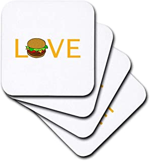 3dRose cst_180466_2 Love Burgers-Yellow Text with Hamburger O-Food Foodie Typography-Soft Coasters, Set of 8