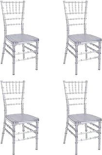 Silla Tiffany Transparente Apilable - (Pack de 4) - para Cocinas y Eventos