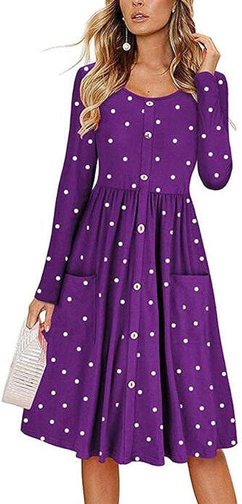 Teeuiear Women's Autumn Winter Polka Dot Print Button Down Swing Casual Tunic Cocktail Long/Short Sleeve Dress with Pocket