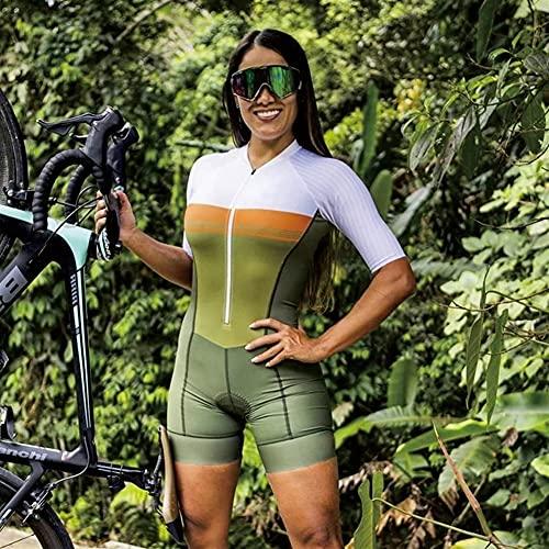 Damen Radsport Overall Kurzarm Fahrradtrikot Sets Fahrradbekleidung Skinsuit Kurzarm Triathlon Anzug Outfit (Color : 3, Size : XS)