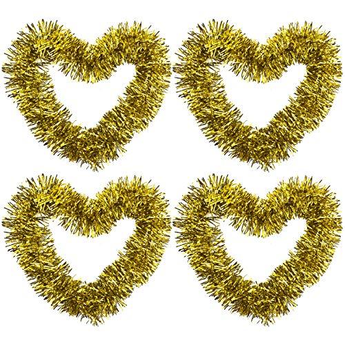 Disino 4 Stück Gold Weihnachten Lametta Girlande, 2M Metallisch Lametta Girlande, Glänzend Weihnachtsbaum Lametta, Glitzernde Hängende Dekoration für Weihnachten Kranz Hochzeit Party Lieferungen