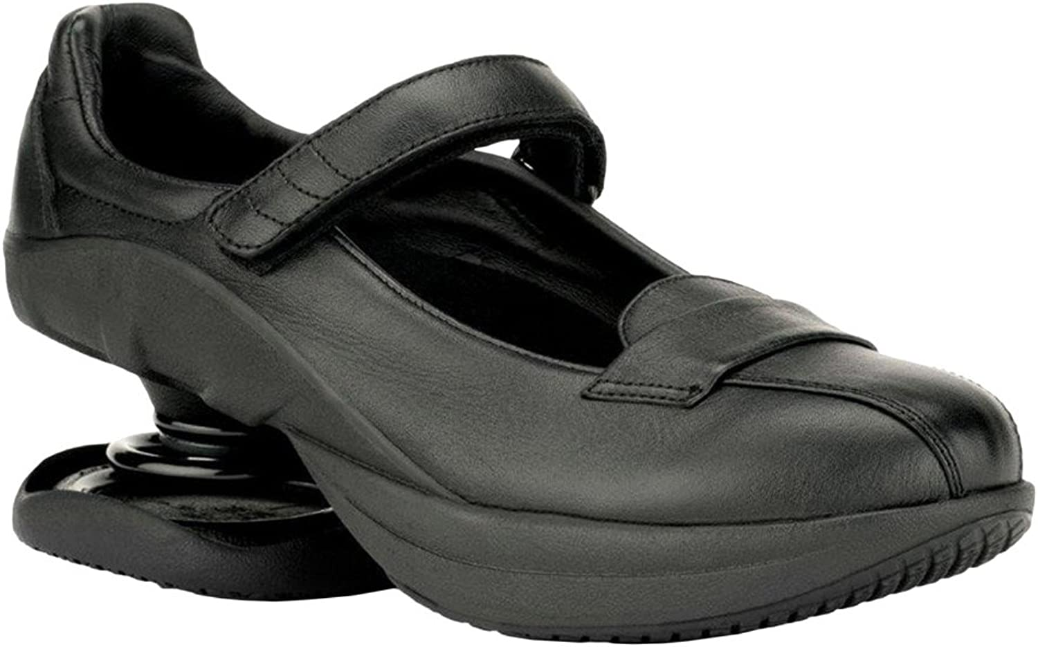 Z-CoiL Pain Relief Footwear Women's Sofia Slip Resistant Black Leather Mary Jane