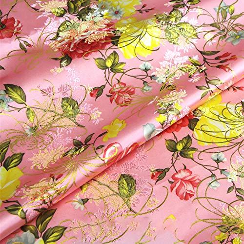 SQINAA Brocade Tela Tela De Vestir Peony Flower Antiguo Kimono Chino con Bolsa De Oro Pao Floral De Seda Costura De Satn 70X50cm,Rosado