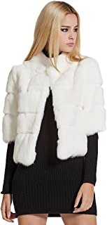 Fur Story Women's Real Rabbit Fur Coat Warm Coat Single Breasted Half Sleeve