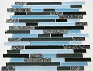 Random Brick Pattern Glass Tile & Granite Tile; Color: Black, Gray & Blue Glass with Blue Pearl Granite