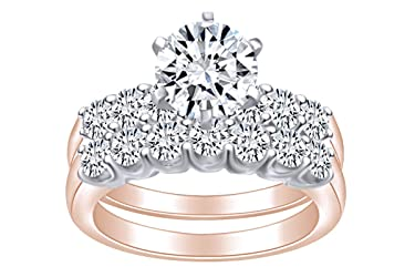 2.05 Carat (Cttw) Round Shape White Natural Diamond Engagement Wedding Band Ring Set in 14k Solid Gold