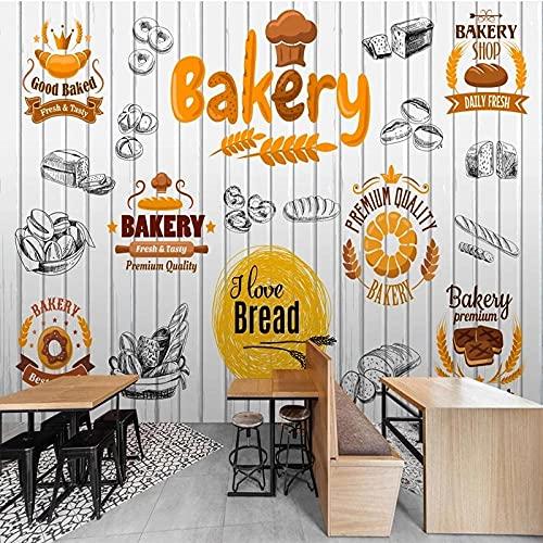 Papel Tapiz 3D Moda Pintado A Mano Alimentos Panadería Tablero De Madera Fondo Revestimiento De Paredes Mural Impermeable