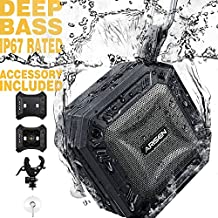 Portable Bluetooth Speakers, Arisen RockRock IP67 Waterproof Outdoor Clip Speaker with Loud Sound, Deep Bass,TWS, Accessory, for Beach Party Travel Golf