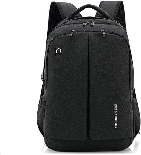 Sac à Dos pour Ordinateur portable d'affaires avec ChargeHommest USB, Sac De Voyage Imperméable en Nylon Multifonctionnel (Couleur   Noir, Taille   M)
