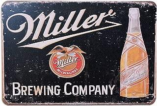 PEI's Miller Brewing Company Retro Vintage Beer Liquor Tin Metal Sign, Wall Decor for Home Garage Bar Man Cave, 8x12/20x30cm