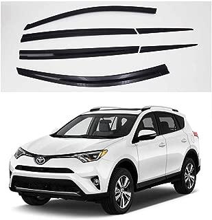 AUTOCLOVER Dark Smoke Side Window Vent Visor 6 Piece Set for Toyota RAV4 2013 2014 2015 2016 / Safe RAIN Out-Channel Guard Deflector
