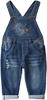 Kidscool Space Pure Cotton Baby Ripped 2 Pockets Bibs Jeans Overalls