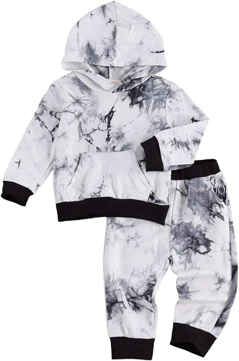 Toddler Boy Fall Outfit Set Baby Boy Hood Tie Dye Sweatshirt + Pants 2Pcs Clothes Set