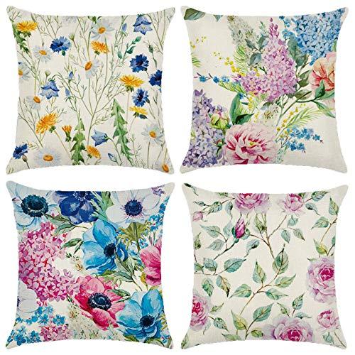 Neusky Juego de 4 fundas de cojín decorativas con diseño geométrico, 45 x 45 cm, para sofá, oficina, de algodón y lino (bonitas flores)