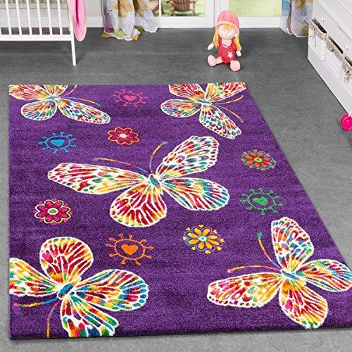 Alfombra infantil - Diseño de mariposas - Para cuarto de los niños y habitación de juegos - Multicolor con fondo en lila, 120 x 170 cm