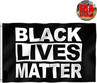 Hamowtux ?FBA in Stock? Black Lives Matter Flag BLM Flag with Brass Grommets, 3'x5' Garden Flag Banner Wall Flag for Indoor Outdoor Democrats I Can't Breathe George Floyd BLM Justice Movement