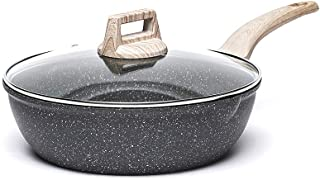 Carote 4.5-Quart Nonstick Saute pan, Deep Frying Pan with Glass Lid,Non-Stick Jumbo Cooker Granite Stone Coating from Swit...