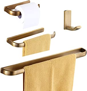 WOLIBEER Antique Brass Finished 4Pcs Bathroom Accessories Easy Installation & Wall Mounted Economical Set: Towel Rack Towel Ring Toilet Roll Holder Coat Hook Constructed by Brass