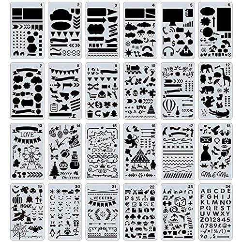 Jixista 24×Journal Stencils Set Plantillas de Dibujo Plantillas Plastico Plantillas Dibujo Stencil Bullet Journal para Scrapbooking Planner de Llave Metal para Cuaderno Scrapbook y Dibujo de Bricolaje