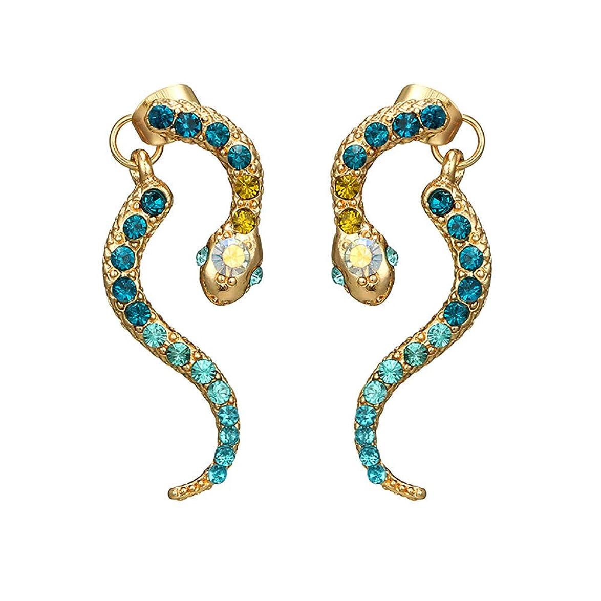 機構フィードオン一貫したNicircle 女性ヴィンテージパーソナリティゾディアックヘビ型ダイヤモンドイヤリング動物合金のイヤリング Women Vintage Personality Zodiac Snake-shaped Diamond Earrings Animal Alloy Earrings
