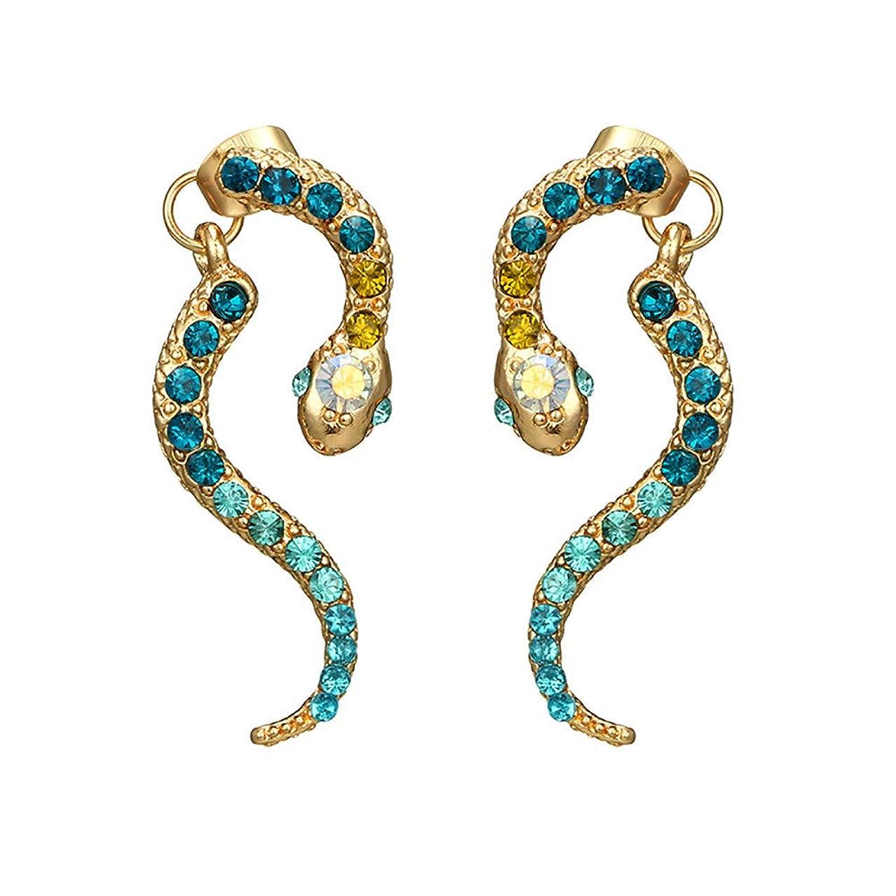 Nicircle 女性ヴィンテージパーソナリティゾディアックヘビ型ダイヤモンドイヤリング動物合金のイヤリング Women Vintage Personality Zodiac Snake-shaped Diamond Earrings Animal Alloy Earrings