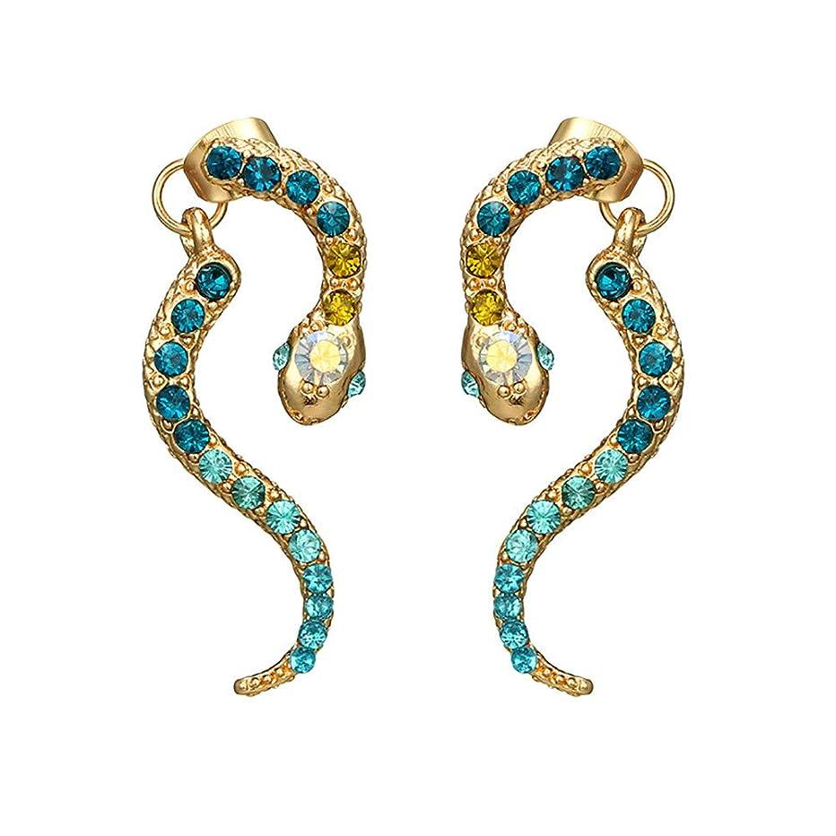 無傷切るプリーツNicircle 女性ヴィンテージパーソナリティゾディアックヘビ型ダイヤモンドイヤリング動物合金のイヤリング Women Vintage Personality Zodiac Snake-shaped Diamond Earrings Animal Alloy Earrings