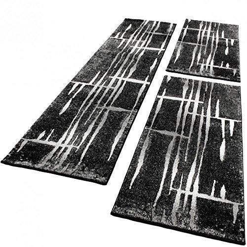 Bettumrandung Läufer Teppich Meliert Design Grau Schwarz Weiss Läuferset 3 Tlg., Grösse:2mal 70x140 1mal 70x250