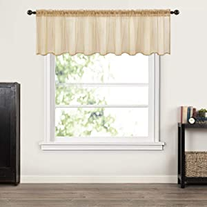 MIULEE Window Valance Half Window Sheer Curtains Rod Pocket Semitranslucent Voile Drapes Extra Wide for Small Window Kitchen Cafe One Panel 60 x 18 Inch Brown