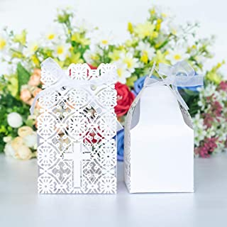 Baptism Cross Favor Boxes 50pcs,Laser Cut Candy Gift Box with Ribbons for Baptism, Christening Party, First Communion Baby Shower Wedding Party Bomboniere Decoration (2.9