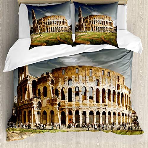 ABAKUHAUS het Colosseum Dekbedovertrekset, Monument Ruins, Decoratieve 3-delige Bedset met 2 Sierslopen, 200 cm x 200 cm, Pale Coffee Dark Blue