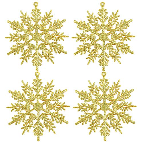 URATOT 48 Pieces Light Gold Christmas Glitter Snowflake Ornaments Hanging Snowflake Christmas Tree Decorations for Christmas Decoration, 4 Inches
