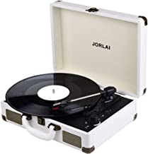 Record Player, JORLAI Vintage Turntable 3-Speed Vinyl Record Player with Speakers/ Rechargable Battery/ Vinyl-to-MP3 Recording/ Headphone Jack/ Aux Input/ RCA Line Out – White