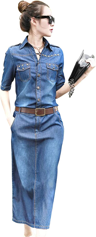 ebossy Women's Half Placket Button Up Studded Slim Pencil Midi Denim Shirt Dress with Belt