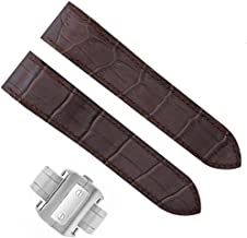 COMPLETE 20MM LEATHER STRAP BAND DEPLOYMENT FOR 32MM CARTIER SANTOS WATCH BROWN