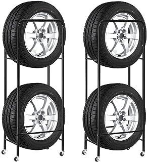 Finether タイヤラック タイヤスタンド スリムタイプ キャスター4個付き タイヤ収納 2個セット キャスター付き 耐荷重120kg 幅47.5×奥行30×高さ136cm ブラック