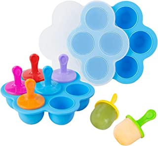 Webake Baby Food Freezer Trays with Lid, Silicone Ice Cube Popsicle Molds with 7 Ice Pop Sticks, Egg Bites Molds Set of 2 for Instant Pot Accessories 5,6,8 qt Pressure Cooker