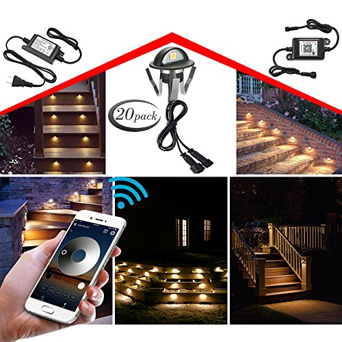 WiFi Deck Lights, FVTLED WiFi Controlled 20pcs Low Voltage LED Deck Lights Kit Φ1.38