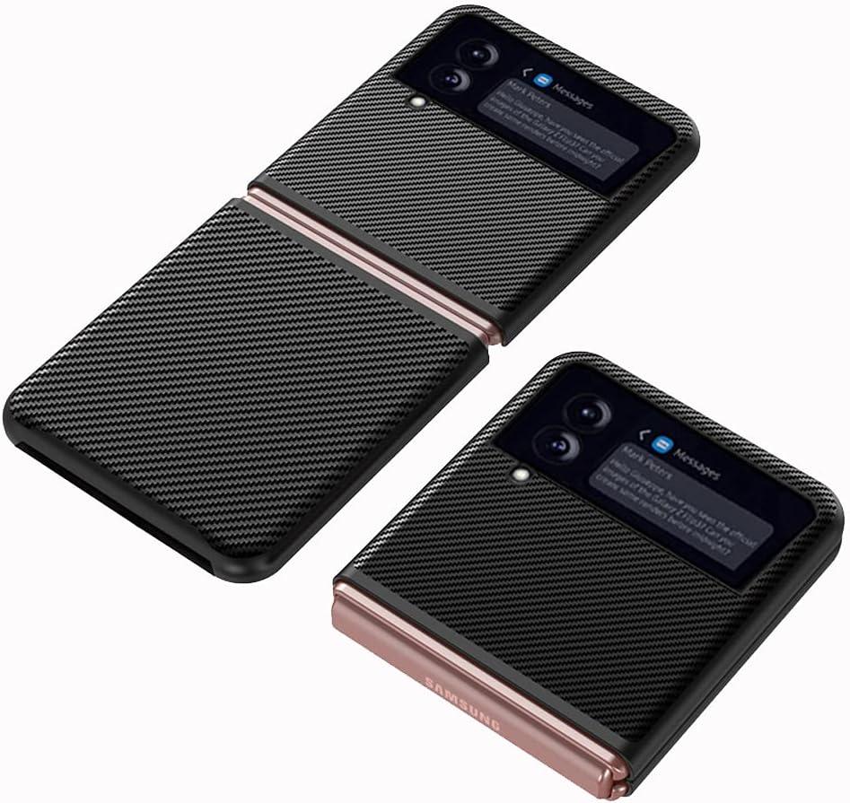 DOOTOO for Samsung Galaxy Z Flip 3 Case Ultra Thin Carbon Fiber Leather Hybrid PC Shockproof Protection Fold Cover Case for Samsung Galaxy Z Flip 3 5G 2021 (Carbon Black)
