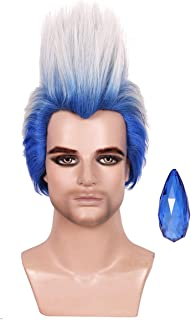 ColorGround Adult Size Short Blue Ombre White Cosplay Wig with Blue Magic Stone for Cons and Halloween Party