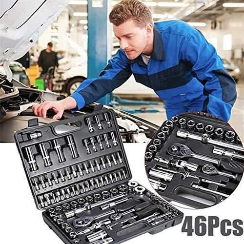 KADDGN 46pcs Schlüssel Socket Set Hardware Spanner Schraubendreher Ratsche Set Kit Autowerkzeug Kombination Hand Werkzeug-Sets,Schwarz