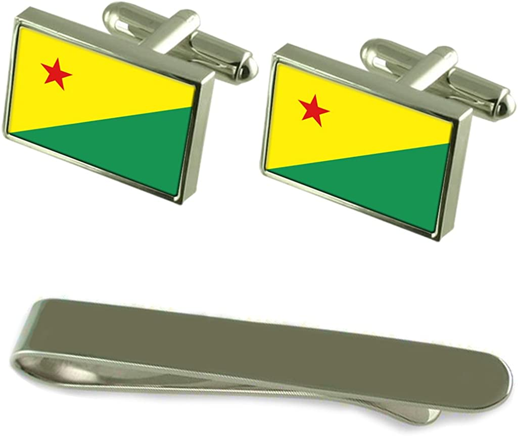 Acre Flag Silver Trust Max 66% OFF Cufflinks Tie Set Engraved Clip Gift