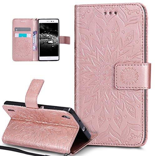 Kompatibel mit Huawei P7 Hülle,Huawei P7 Schutzhülle,Prägung Mandala Blumen Sonnenblume Muster PU Lederhülle Flip Hülle Cover Schale Ständer Etui Wallet Tasche Hülle Schutzhülle für Huawei P7,Rosa