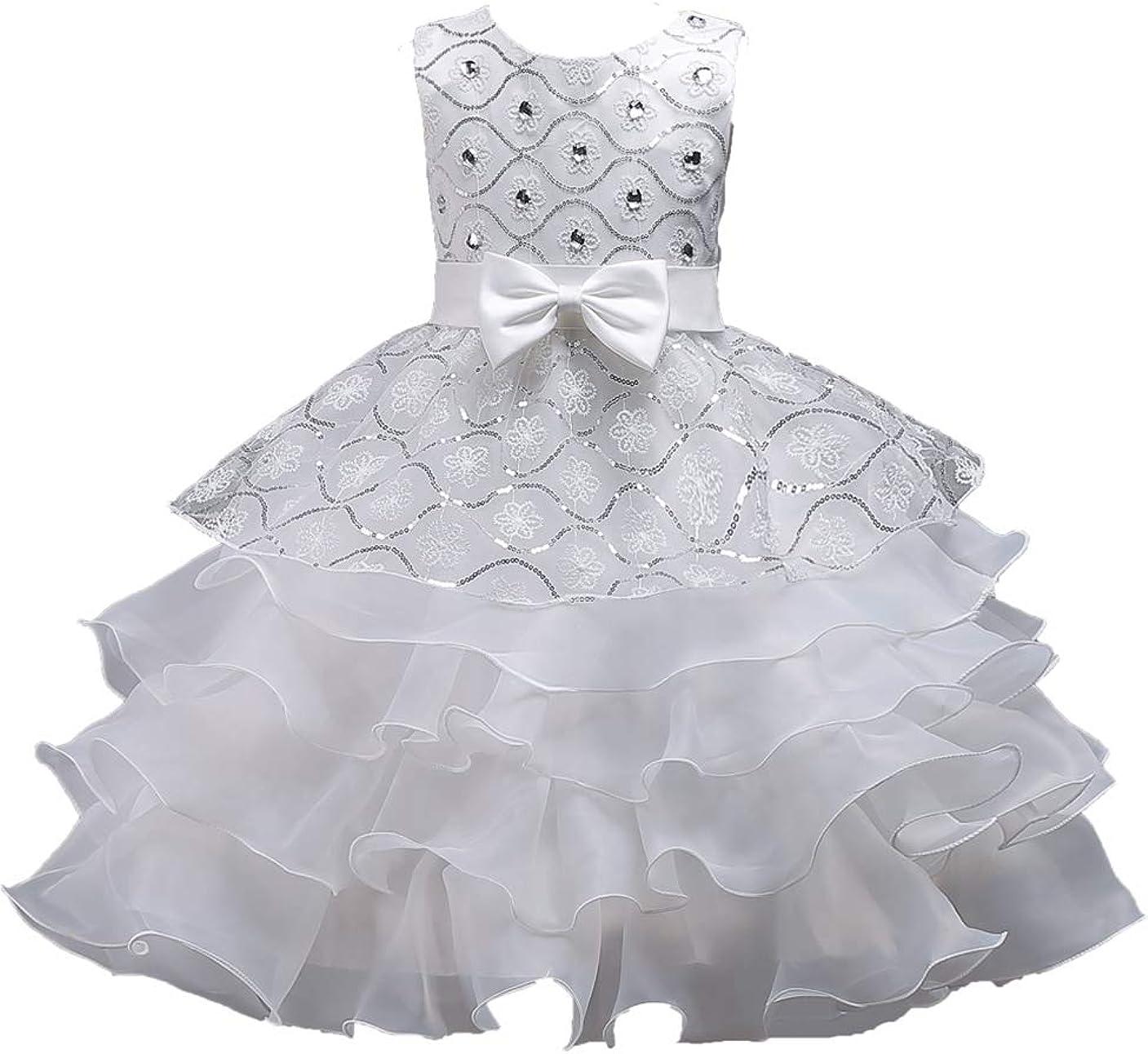 GRASWE Girls Ruffles Lace Party Dress Kids Flower Princess Wedding Dress