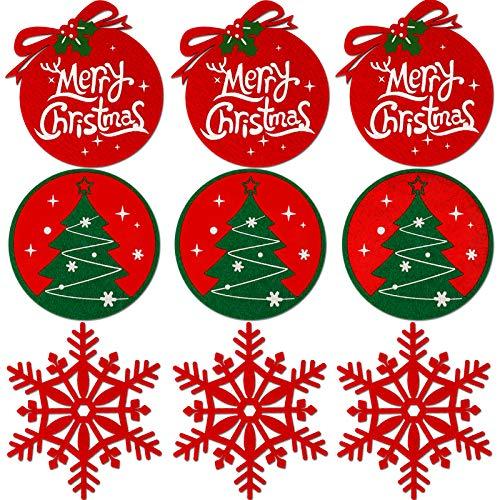 Konsait Weihnachts-Untersetzer für Getränke, Weihnachtsbaum, Schneeflocke, Getränke, Wein, Kaffee, Tasse, Filz, Untersetzer, Weihnachtsdekoration, Set für Geburtstag, Einweihungsfeier, 9 Stück