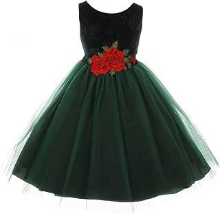 Girls Dress Sleeveless Floral Velvet Rose Tulle Christmas Flower Girl Dress