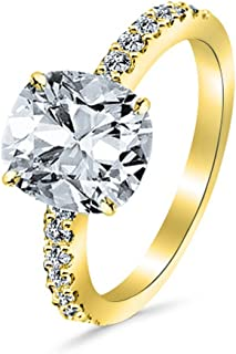 1.25 Ctw 14K White Gold Classic Side Stone Diamond Engagement Ring Cushion Cut (1 Ct J Color VS2 Clarity Center Stone)