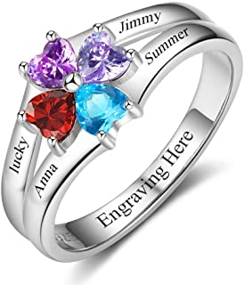 Personalized Sterling Silver Mothers Rings with 4 Simulated Birthstones Rings Meaningful Mom Rings for Family Mother's Day